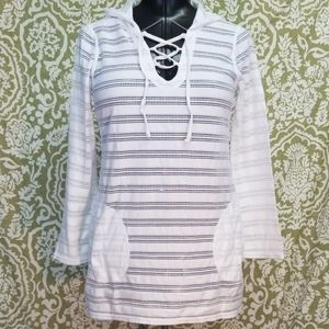 PrAna White Swimsuit Cover Size Small